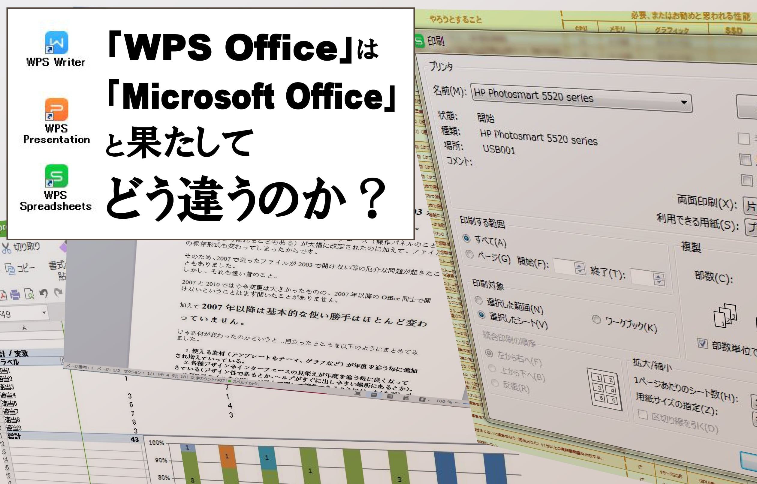 「WPS Office」と「Microsoft Office」を使い比べてみた