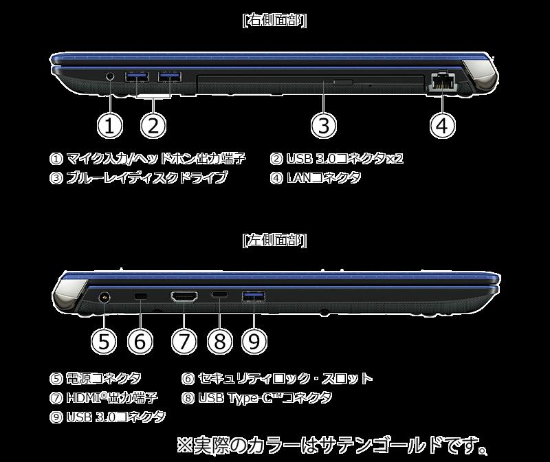 Dynabook AZ45/K、AZ65/Kの接続口