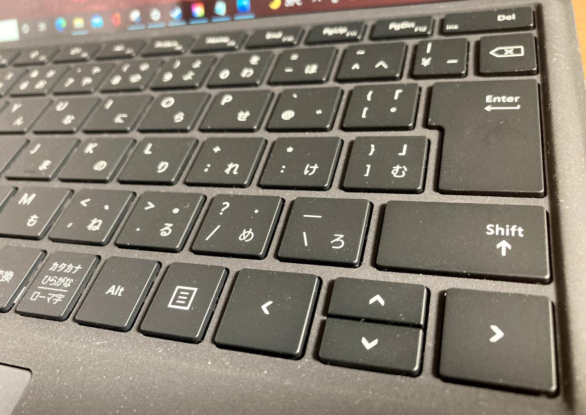 マクロソフトの「Surface Pro 7(タイプカバー、黒)」Enterキーのアップ
