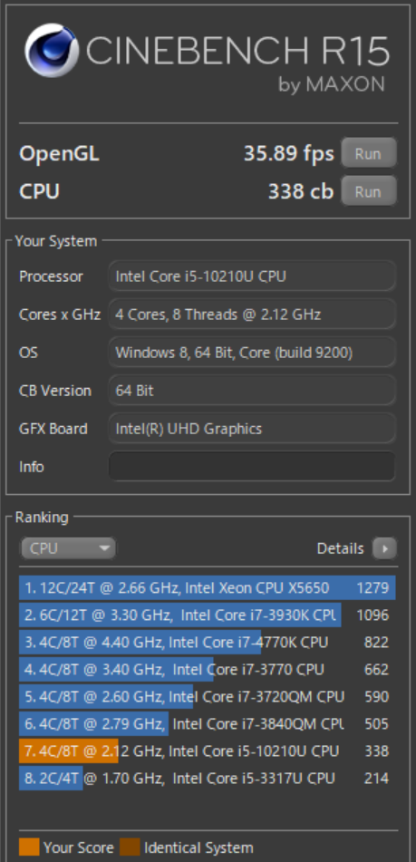 Dynabook G(GZ)Core i5-10210Uで「CINEBENCH R15」の結果
