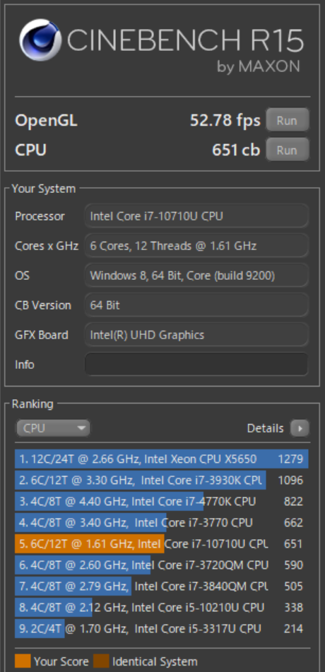 Dynabook G(GZ)Core i7-10710Uで「CINEBENCH R15」の結果
