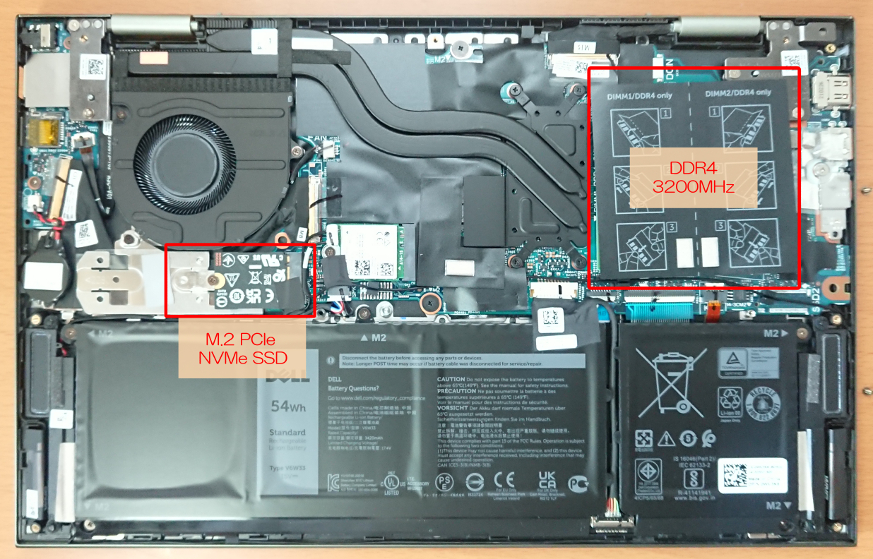 Dell「Inspiron 14(7415)2in1」の裏蓋を外した状態