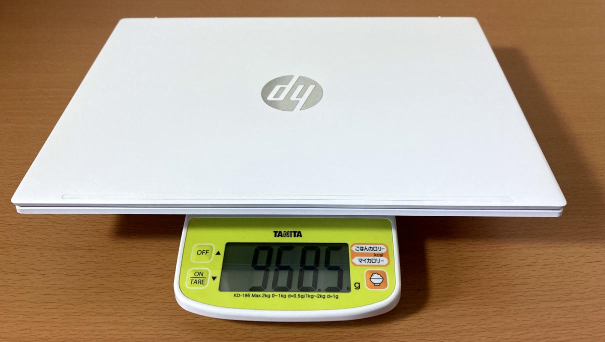「HP Pavilion Aero 13-be」の上位モデルは実測で968.5g