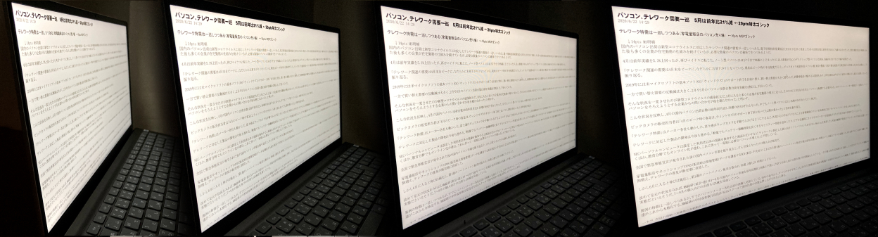 Dell Inspiron 15(5515)の視野角の確認:文字