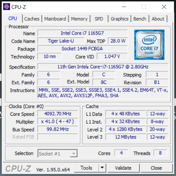 MOUSE「DAIV 4P」搭載のi7-1165G7のCPU-Z