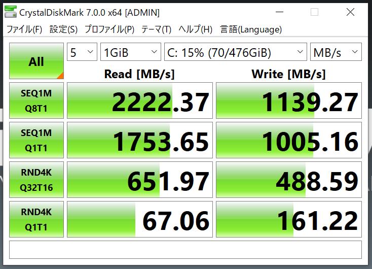 MOUSE「DAIV 4P」の本体ストレージ:CrystalDiskMark7.0にて計測