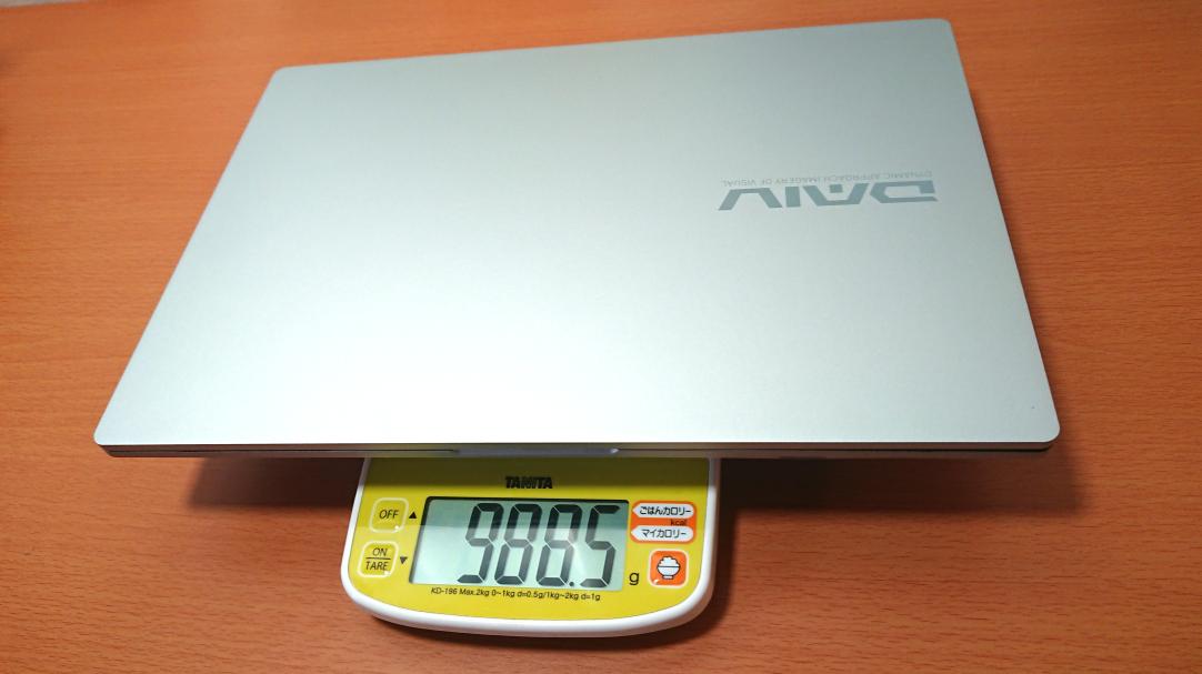 「DAIV 4P」の実測の重さ